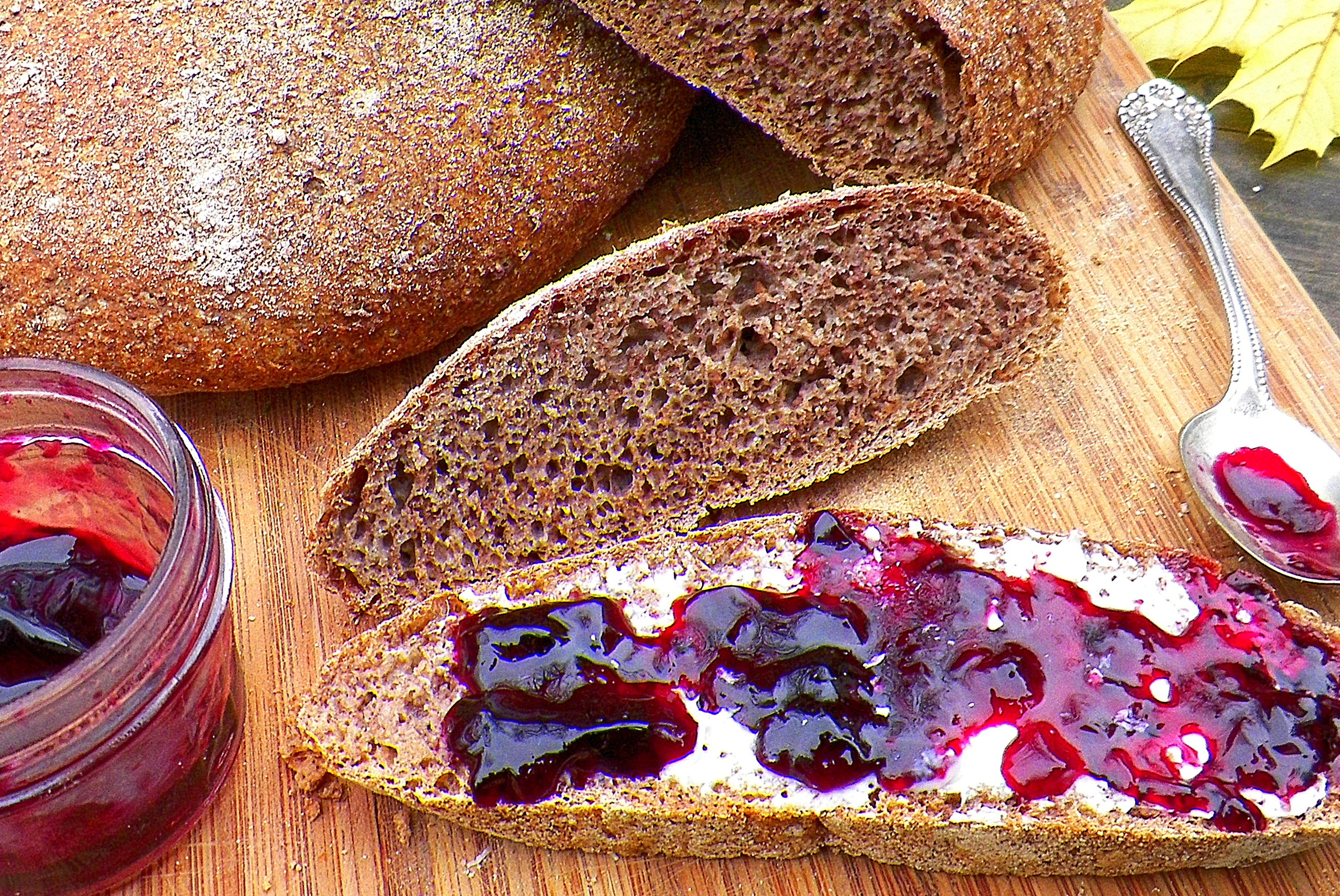 Acorn flour bread with wild grape jelly.