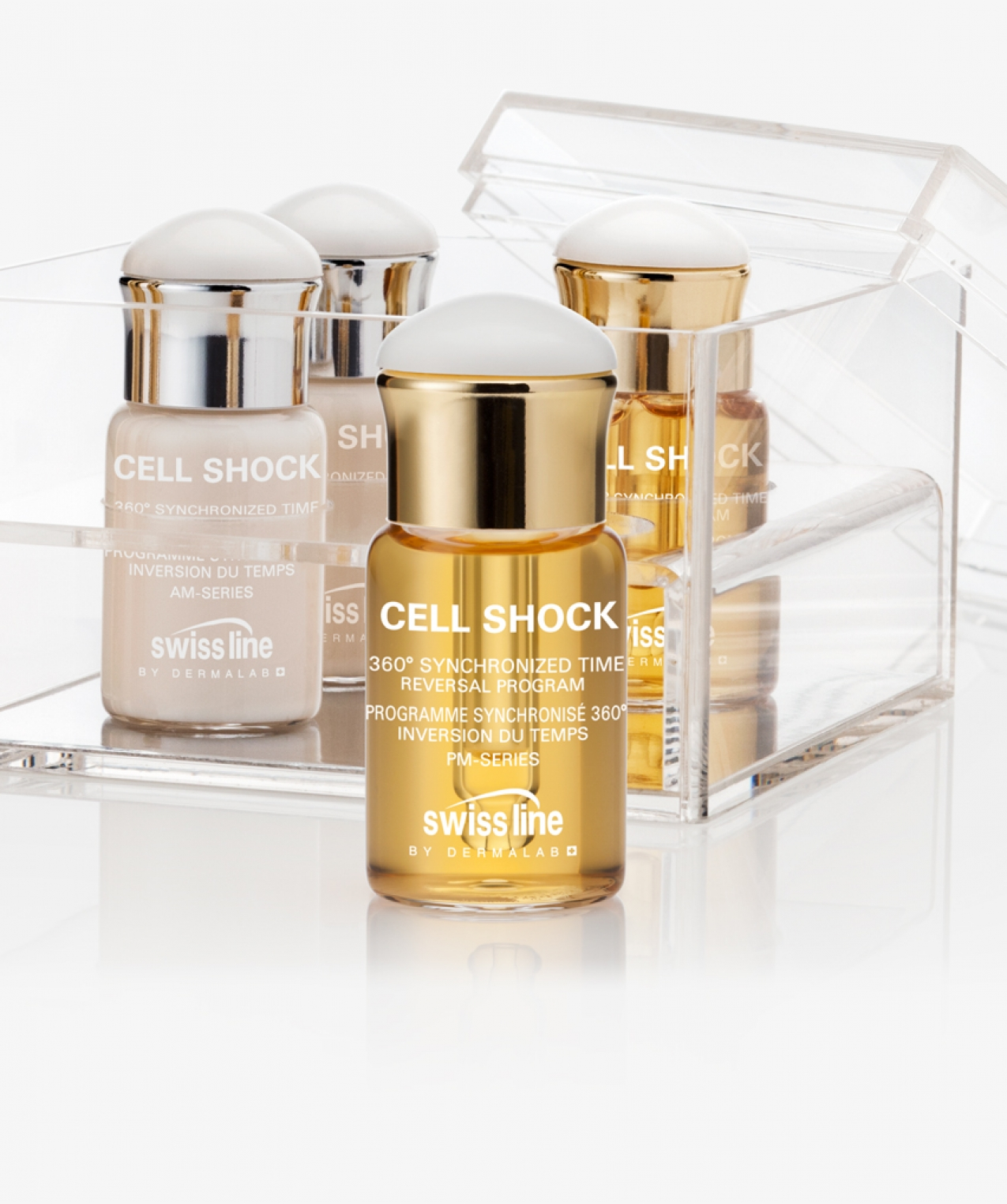 """NEW Swissline 360 Synchronized time reversal program  """"The cure for stress, fatigue, and seasonal changes""""  An ingeneous """"time reversal"""" anti-aging cure with AM and PM skin recovery functions for instant and continuous younger looking skin."""
