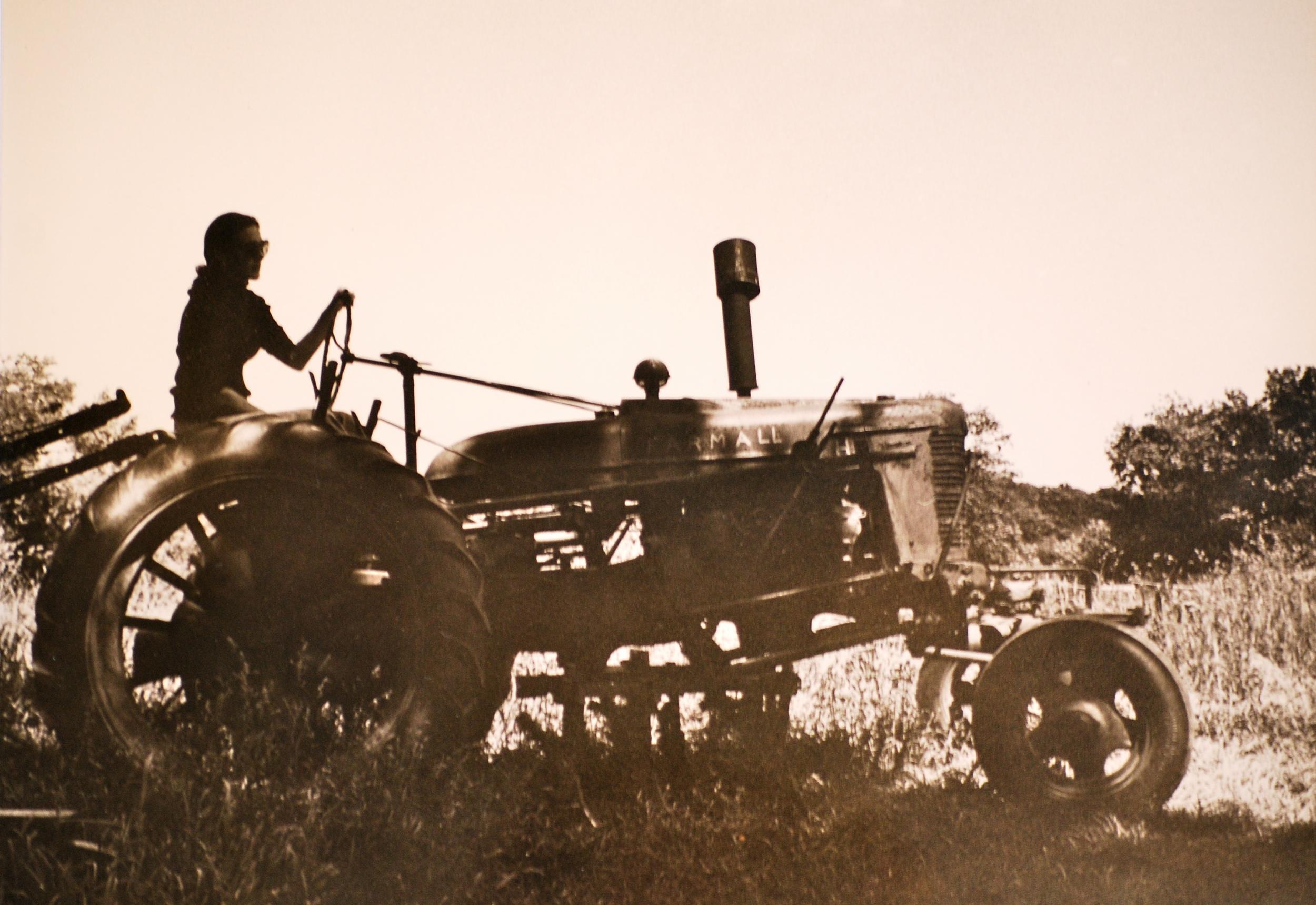 Carolyn on Tractor