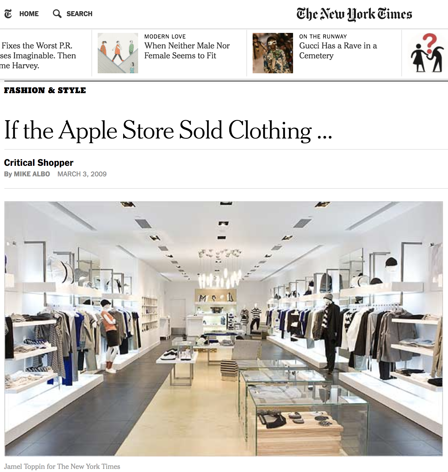 """""""The narrow interior of the store is airy and free of unnecessary décor."""" - - The new york times"""