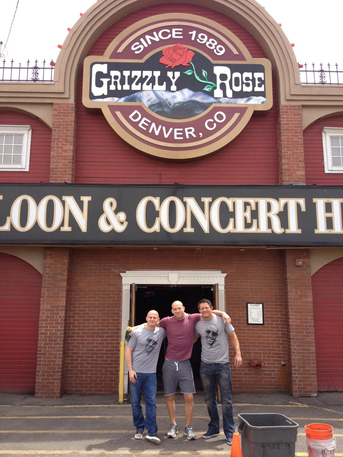 "Ryan Parsons, Tom Watson and I before the fight. Yep, the venue is called ""The Grizzly Rose"" easily mistaken for ""Bob's Country Bunker""."