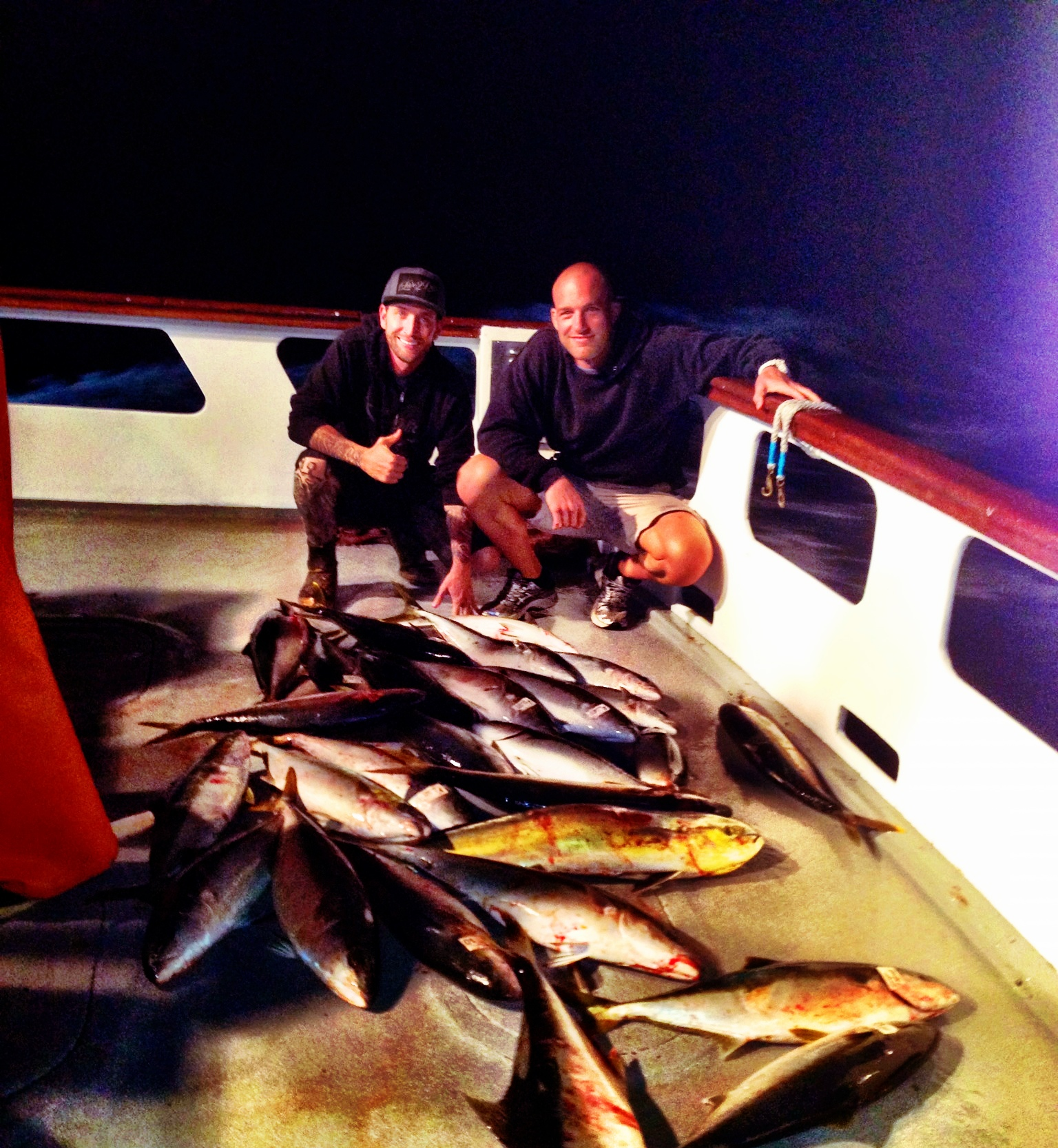 The boat's haul for the day. 7 of those belonged to us, not bad for a land dweller and his teacher.