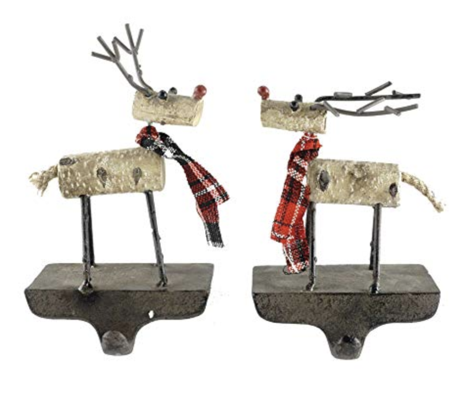 Gerson Woodland Reindeer with Plaid Scarves Cast Iron Stocking Holders - Set of 2