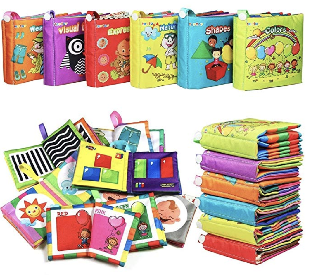 My First Soft Book,TEYTOY 6 PCS Nontoxic Fabric Baby Cloth Books Early Education Toys Activity Crinkle Cloth Book for Toddler, Infants and Kids Perfect for Baby Shower (New Version)