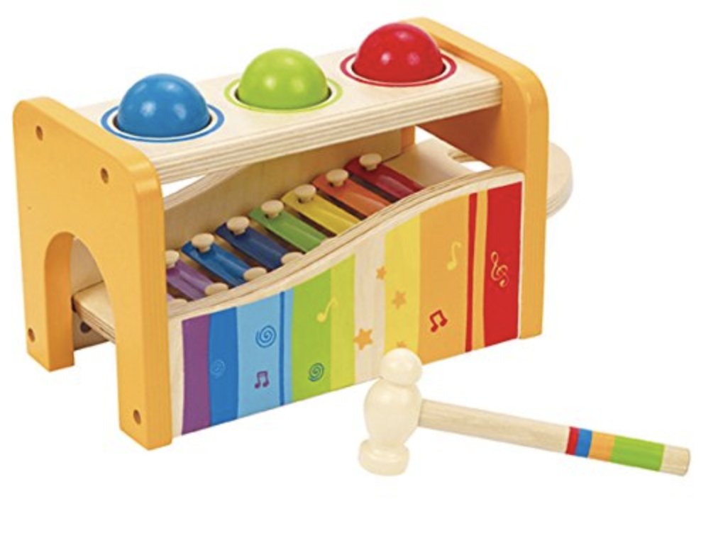 Wooden Musical Pounding Toy for Toddlers, Multifunctional and Bright Colours