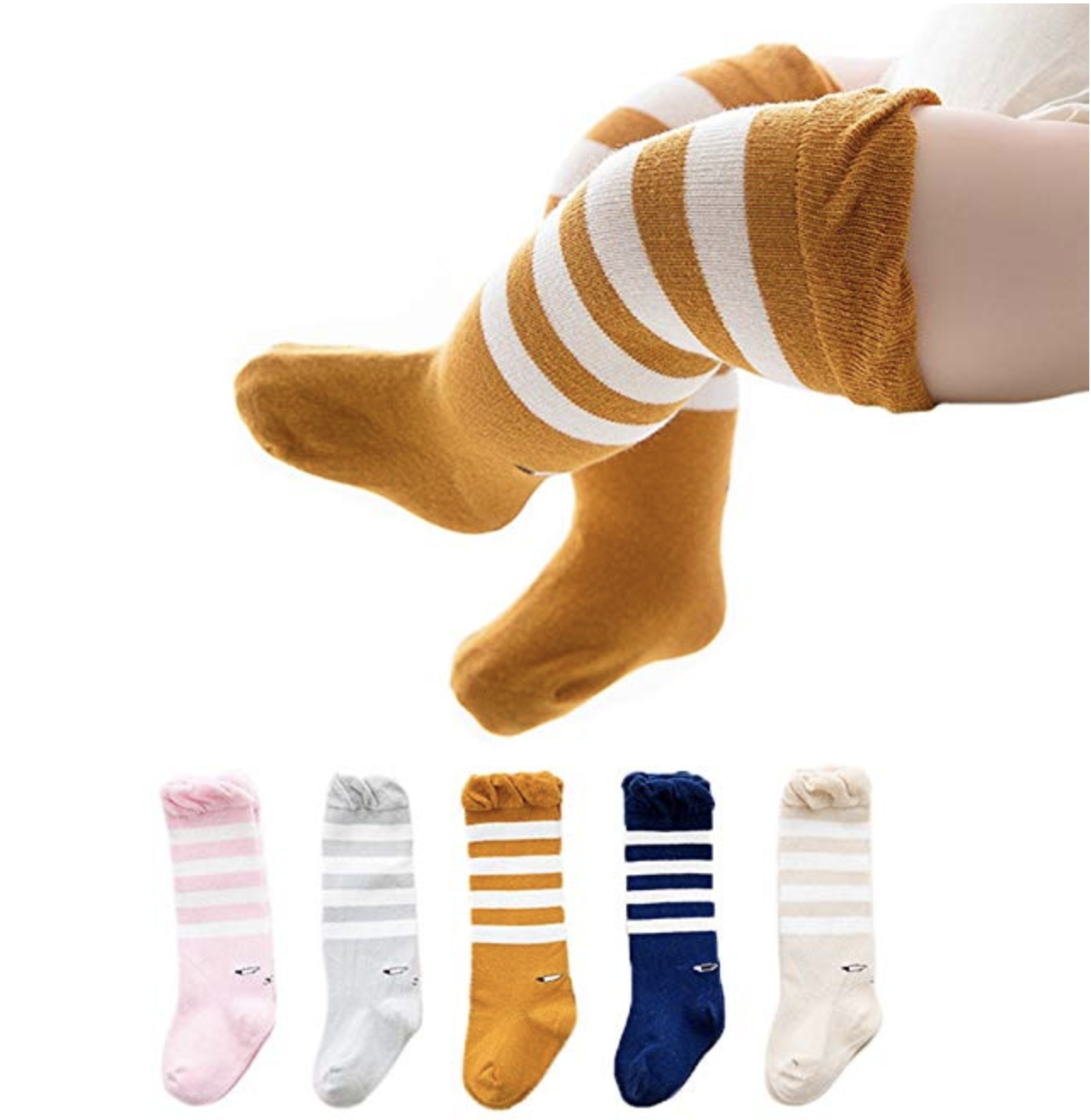 Copy of Joylish 5 Pairs Baby Knee High Socks for Girls Boys - Unisex Newborn Stockings Cotton