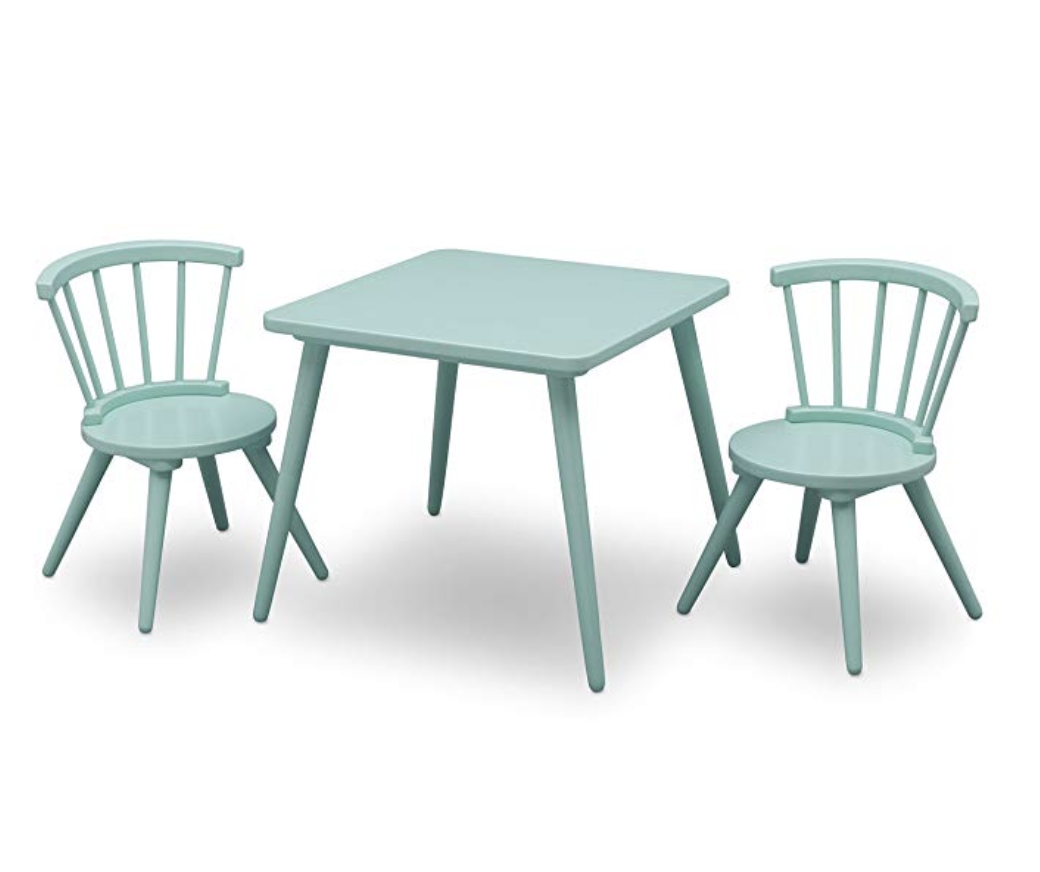 Delta Children Windsor Kids Wood Chair Set and Table (2 Chairs Included), Aqua