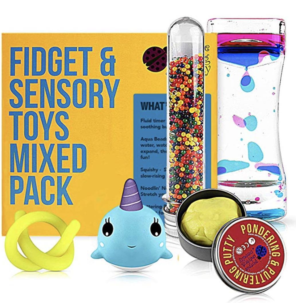 Copy of Fidget Toys Mix Pack - Mixed Pack of 5 Sensory Toys for Stress Relief Includes Liquid Motion Timer, Slow Rising Squishy Toy, Color Changing Therapy Putty for Kids, Stretchy Noodle, Kids Water Beads