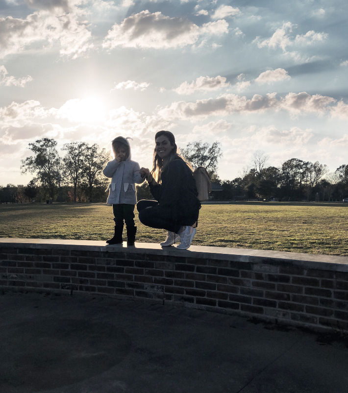 mom and daughter sunset
