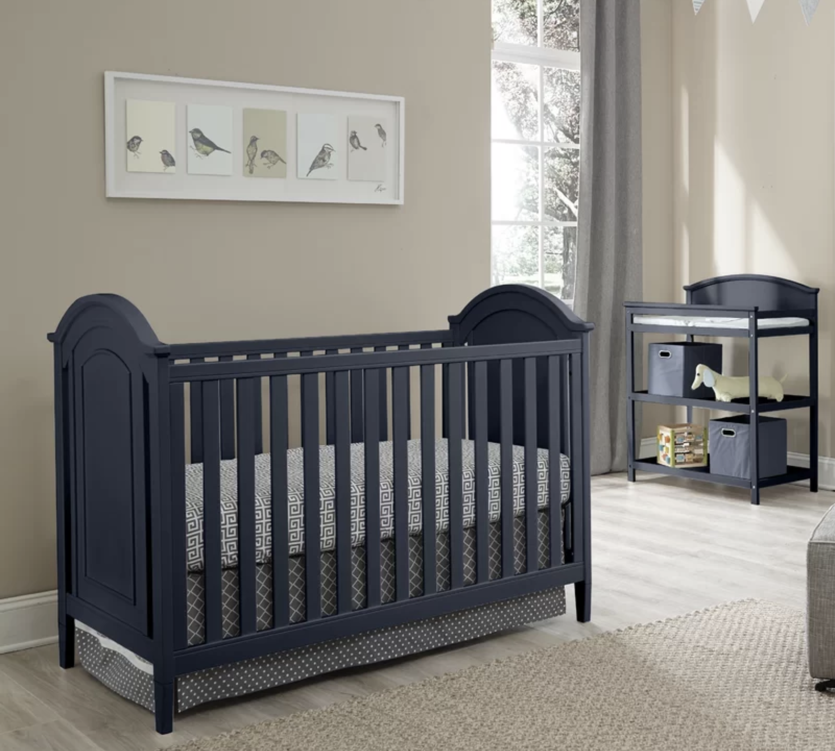 Emile - Navy Blue - 3-in-1 Convertible 3 Piece Crib Set