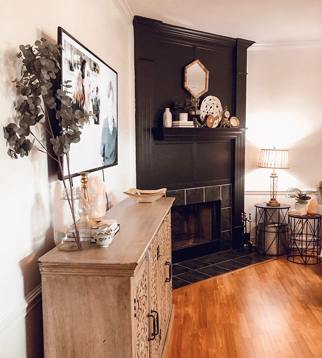 In the process of filming a house tour! My favorite project thus far in our new home was for sure painting that fireplace matte black. Still working on styling it but man it makes my heart so happy! ⠀⠀⠀⠀⠀⠀⠀⠀⠀ ⠀⠀⠀⠀⠀⠀⠀⠀⠀ Second place would be Elliott's wallpaper and paint color and third would have to be parkers chopped night time wall. ⠀⠀⠀⠀⠀⠀⠀⠀⠀ ⠀⠀⠀⠀⠀⠀⠀⠀⠀ Once completed the kitchen will make this biggest impact. But in time there is no rush. ⠀⠀⠀⠀⠀⠀⠀⠀⠀ ⠀⠀⠀⠀⠀⠀⠀⠀⠀ Now that the apartment chapter of our lives is closed and the tour of that space is up on my YouTube Channel and out of my hands I feel like I can fully move on to this house. ⠀⠀⠀⠀⠀⠀⠀⠀⠀ ⠀⠀⠀⠀⠀⠀⠀⠀⠀ Would you ever paint your fireplace black? or a bold deep color?⠀⠀⠀⠀⠀⠀⠀⠀⠀ .⠀⠀⠀⠀⠀⠀⠀⠀⠀ .⠀⠀⠀⠀⠀⠀⠀⠀⠀ .⠀⠀⠀⠀⠀⠀⠀⠀⠀ .⠀⠀⠀⠀⠀⠀⠀⠀⠀ .⠀⠀⠀⠀⠀⠀⠀⠀⠀ .⠀⠀⠀⠀⠀⠀⠀⠀⠀ .⠀⠀⠀⠀⠀⠀⠀⠀⠀ . #sahmlife #familyorganization #sahmlifestyle #tryingtokeepittogether #onetofollow #myhousebeautiful #lovewhereyoudwell #flashesofdelight #hometohave #peepmypad #momthyme #ashleyfurniture #coffeesesh #momssupportingmoms #habitandhome #momboss #mommyvlogger #lifestylevlogger #targetfinds #earlyriser #christinemichelle #walmartfinds #boldandbeautiful  #mysmphome #maketimefordesign # theeverygirlathome #neutraldoneright #mydomaine #mycovetedhome #mywholehome