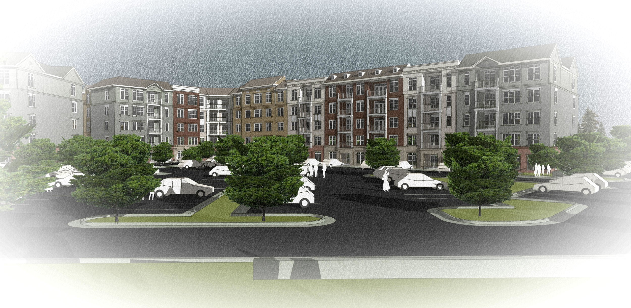Senior Housing  - Proposed elevations showing variations in building colors and materials and easily accessible off-street parking.