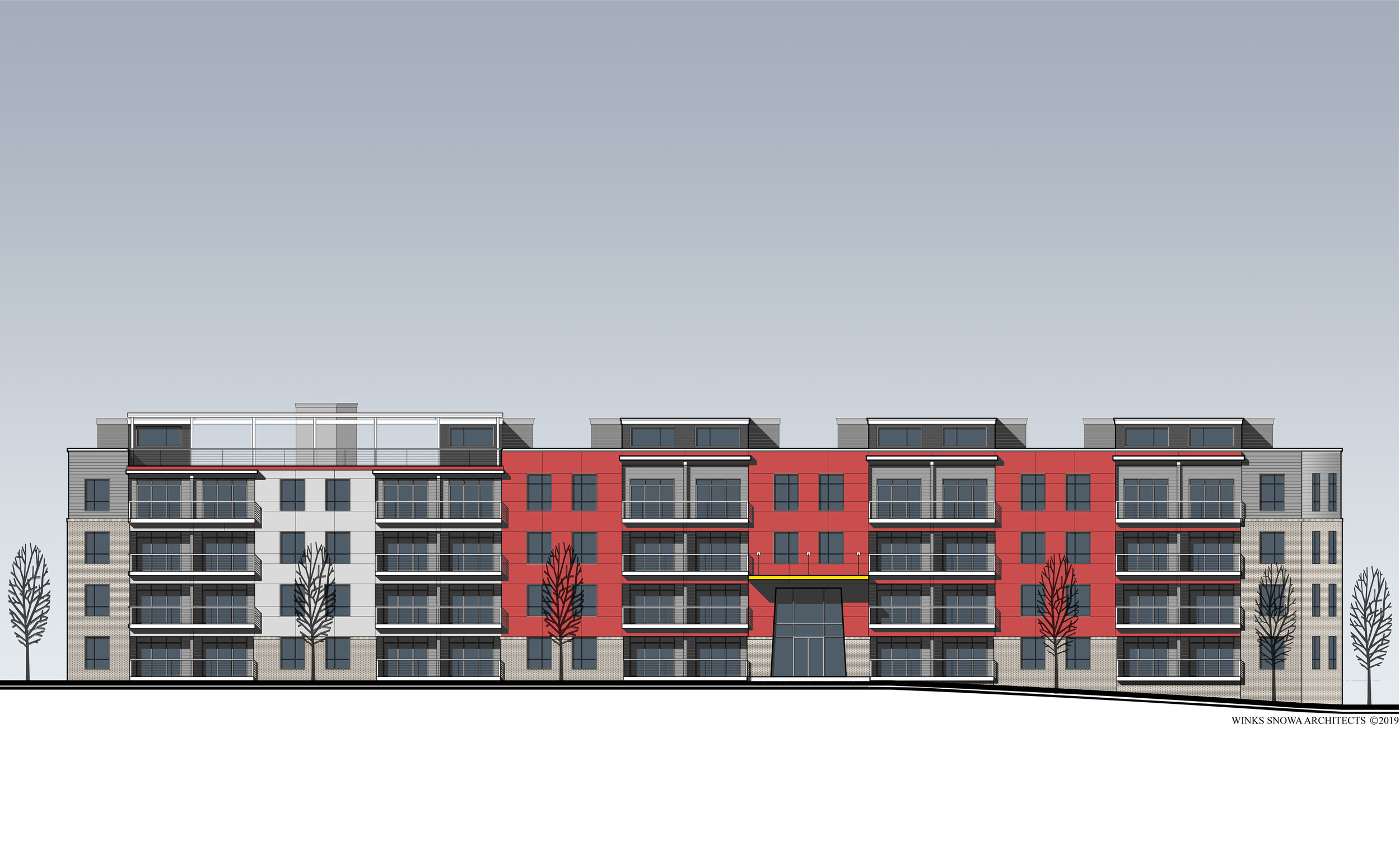 Multifamily Housing -  Proposed front building elevation showing fully accessible roof deck and garden