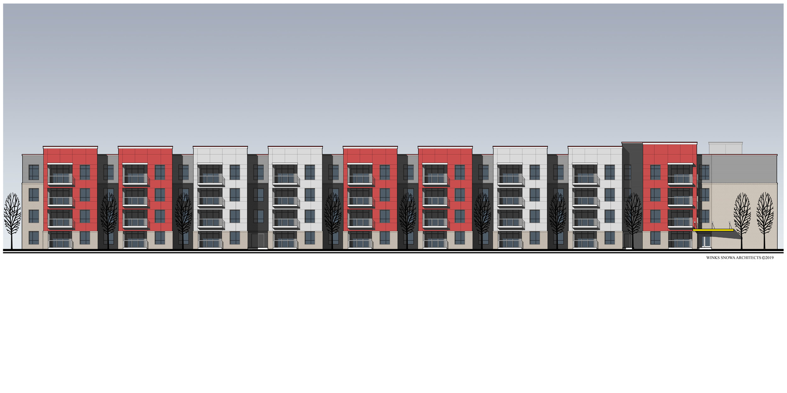 Multifamily Housing -  Proposed side building elevation