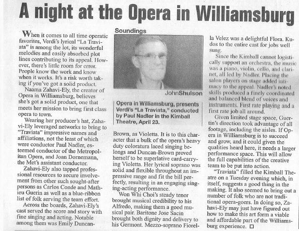 La Traviata review (Virginia Gazette)