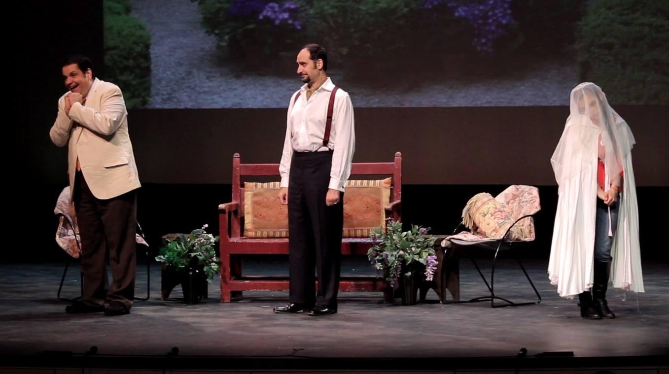 From Opera in Williamsburg's Don Pasquale, April 2014.  Don Pasquale: Carlos Conde.  Malatesta: Marco Nistico.  Norina: Meechot Marrero.