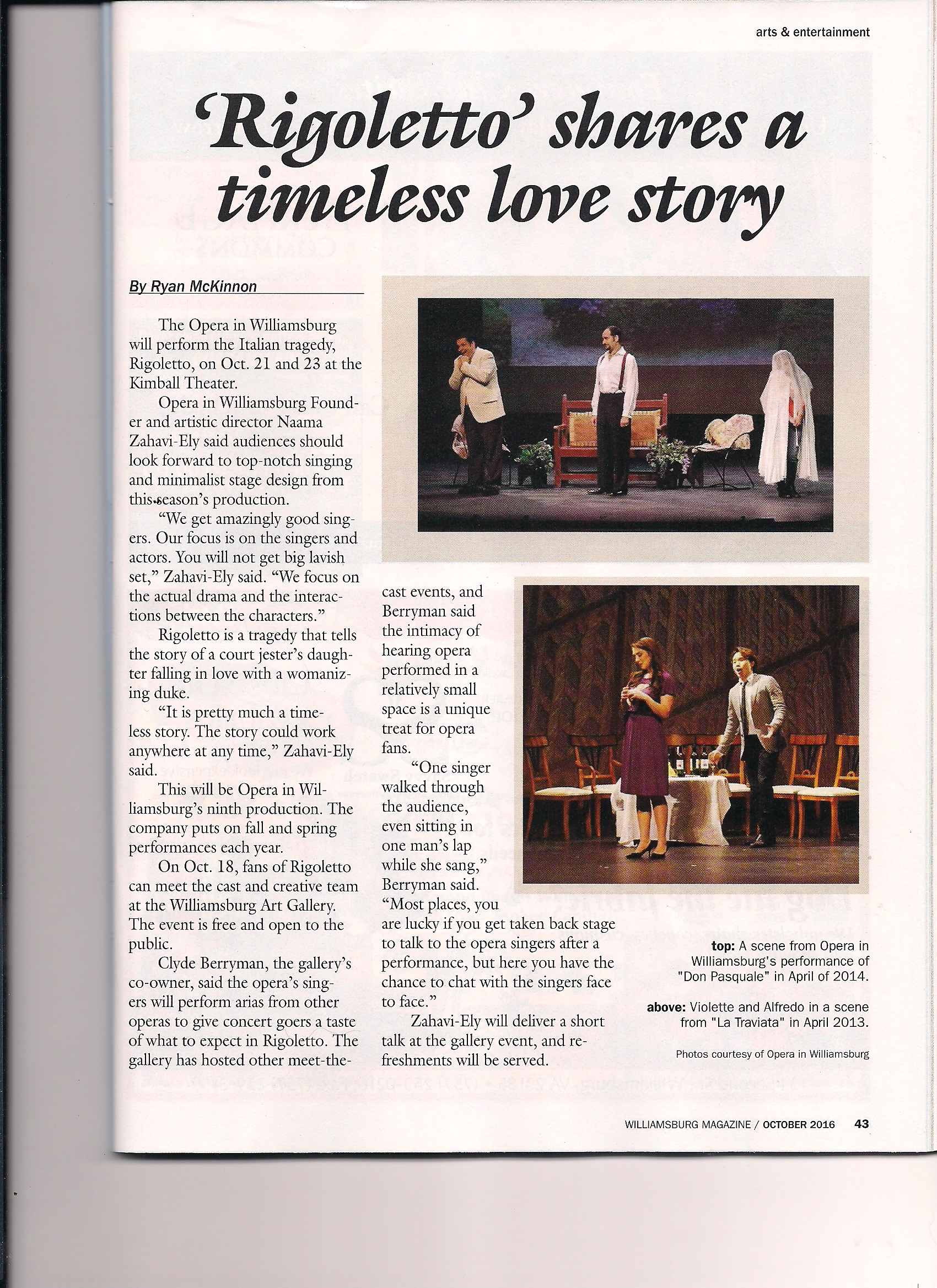 Pre-Rigoletto article Williamsburg Magazine