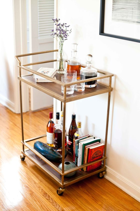 Brass Framed Bar Cart