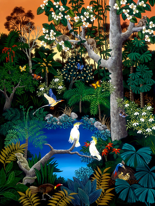 TROPICAL FOREST    Here is a cheerful gathering of birds and wildlife in the rainforest of tropical Northern Australia. Bright butterflies, Kingfishers and Cockatoos are amongst the foliage which only rainforests can produce. Life in this wilderness is awe inspiring!    Limited edition of 500, signed and numbered. Printed on archival paper.   Image size: 58cm x 43cm.