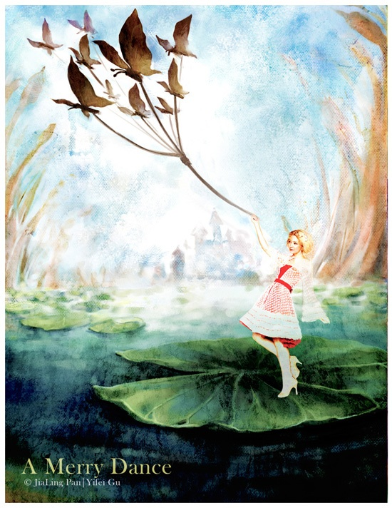 A group of graceful butterflies constantly fluttered round her, and  at last alighted on the leaf. Thumbelina pleased them, and she was glad  of it, for now the toad could not possibly reach her, and the country  through which she sailed was beautiful.    The sun shone upon the water, till it glittered like liquid gold.    She  took off her, split the ends and let the butterflies take hold of the  ends. The other end of the ribbon she fastened around her little arm as  she held on tight to the leaf, which now glided on much faster than  ever.    Taking little Thumbelina with it as she stood.