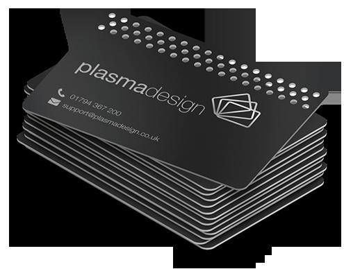A stack of matt black metal cards