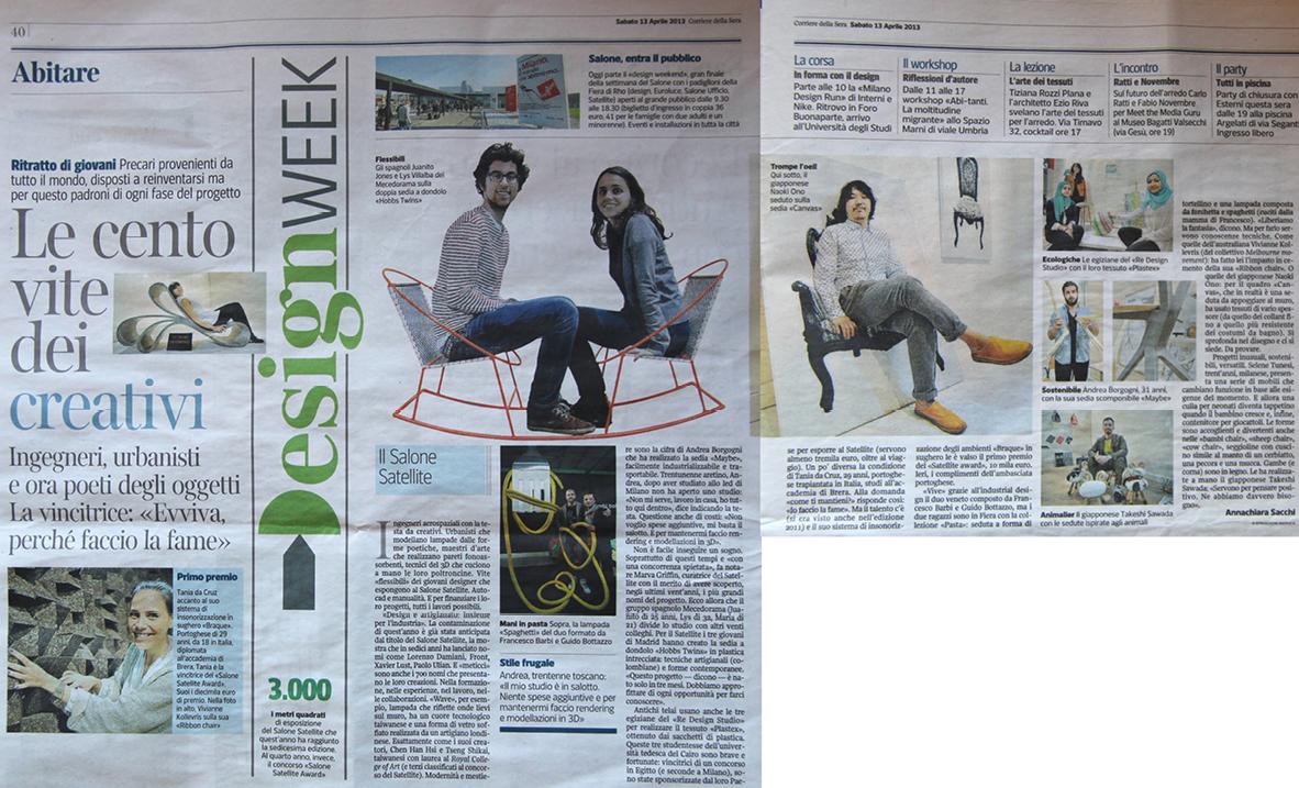 Corriere Della Sera newspaper, Italy, April 2013