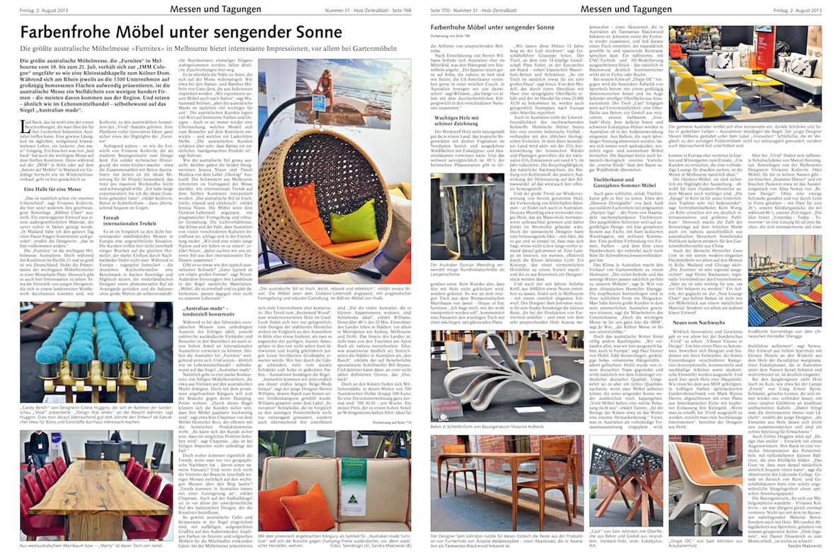 Holz-Zentralblatt magazine, Germany, 2013