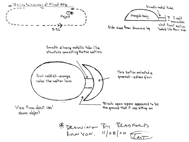 Drawings of the UFO by former Air Force pilot Bradford Runyon.