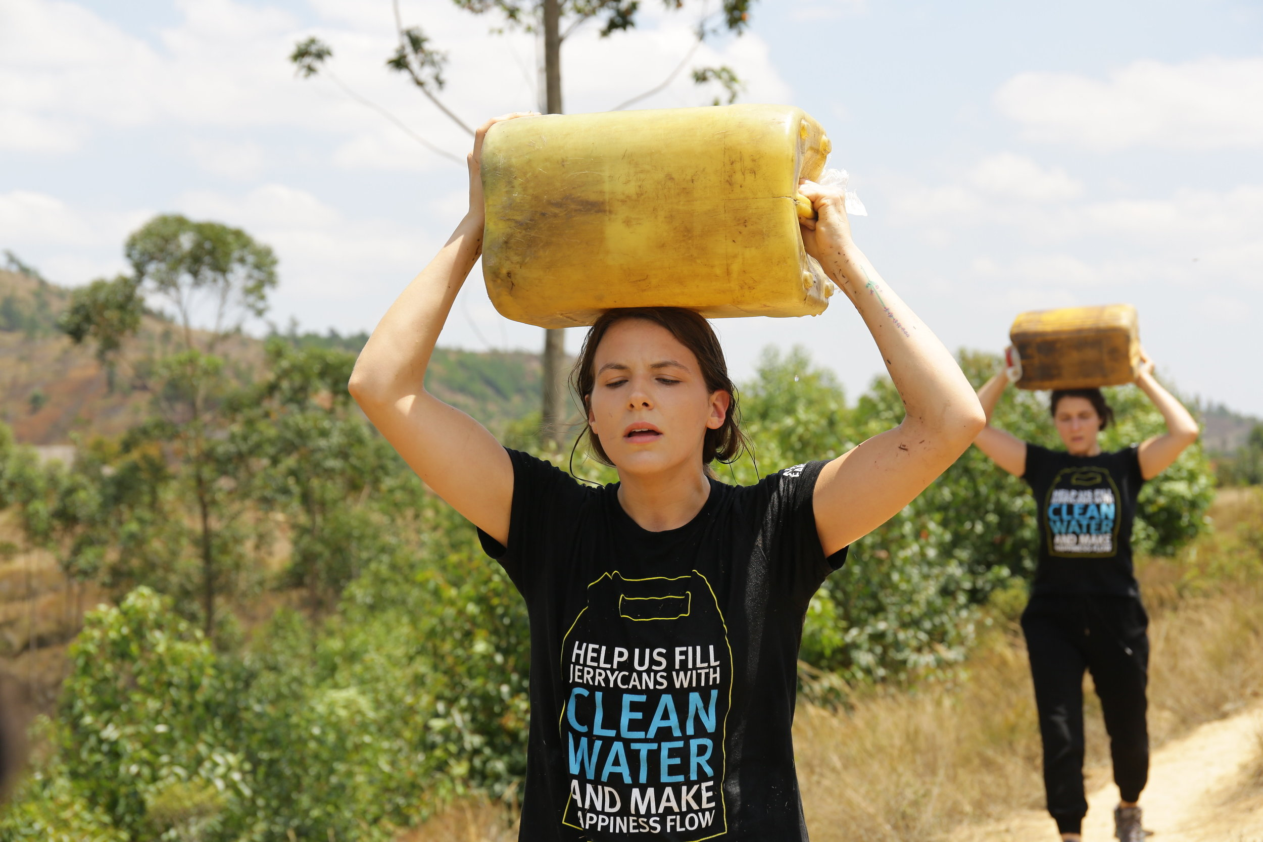 Cydnie carrying 44lbs of water back to Tsarafangitra