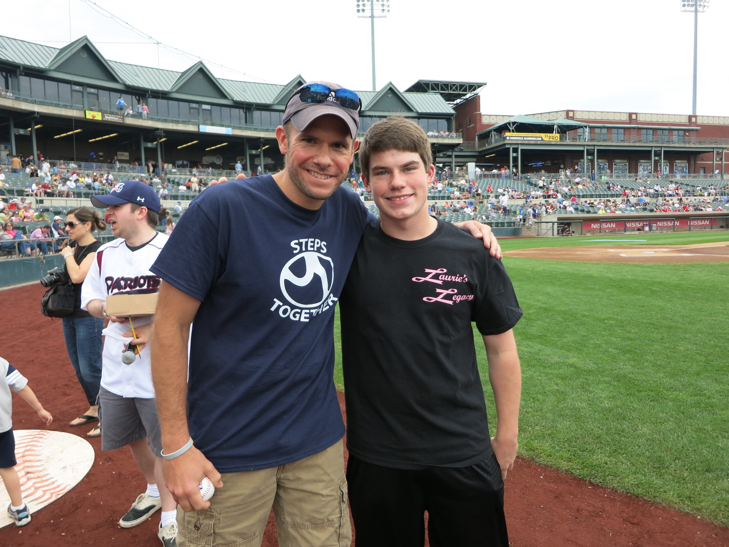 Mike Newman, of Steps Together,  and Stephen Wurst at The Somerset Patriots Game on Father's Day.