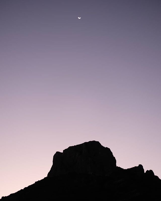 Predawn in Big Bend. . #nofilter #moon #texas