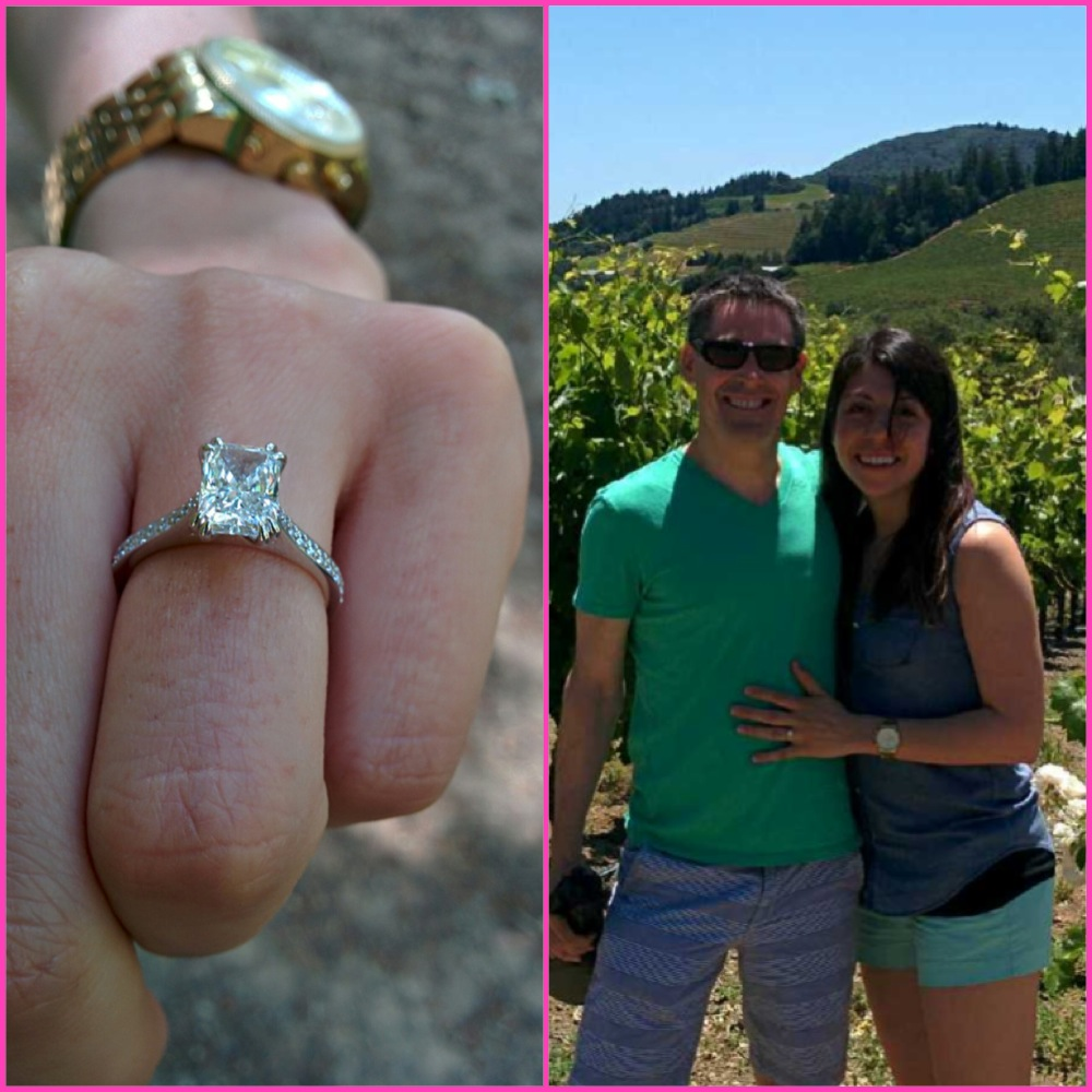 Grahame + Michele get engaged in Napa Valley with a HL radiant cut sparkler.