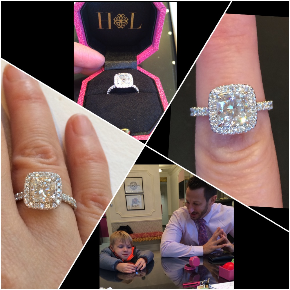 Ryan gets his son in on the secret 10 year anniversary upgrade for his deserving wife. This HL cushion cut beauty makes Jami smile everyday!