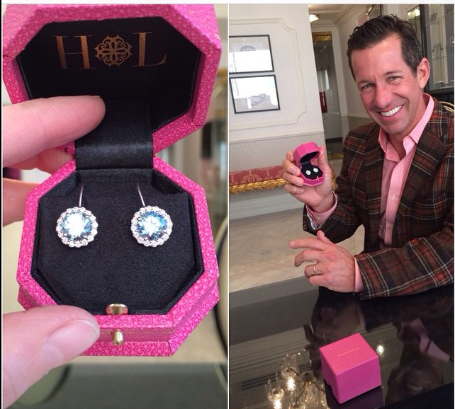 Every man should be as thrilled as Marty (and dressed as dapper) when picking up his wife's 50th birthday surprise. Hiswife, Marcy, adores her swoon-worthy aquamarine + diamond ear-candy.