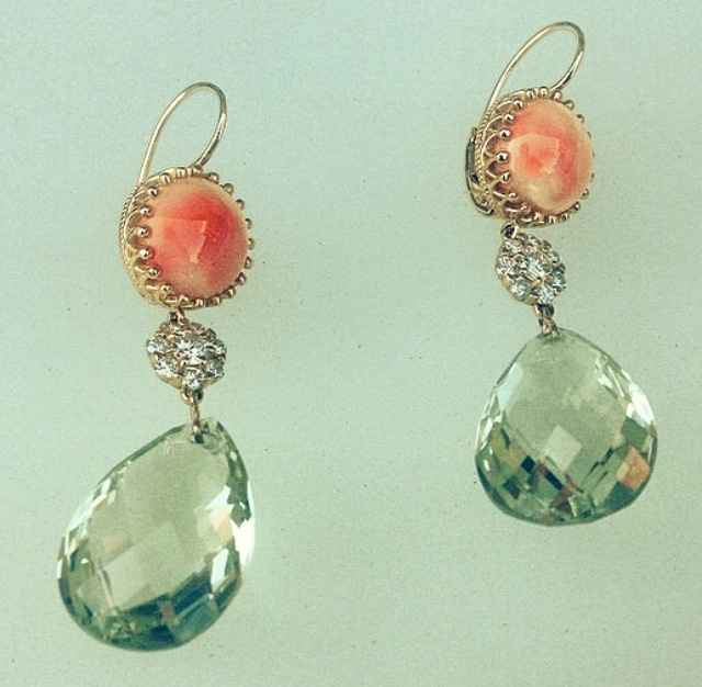 I love working with briolette cut gems.  I have these pear shaped beauties cut and matched to my specification in Idar Oberstein, Germany.   Faceted on both sides, allowing for minimal metal and lots of sparkle!  (Prasolite + Coral with diamonds in yellow gold.)
