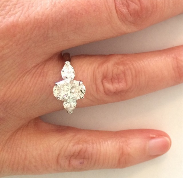 This oval brilliant diamond is one of the most brilliant I've seen.  Love the classic elegance of this stunner.   Not surprised my client says she often gets stopped on the streets by admirers!
