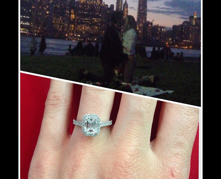 "Vanessa was blown away by her surprise proposal while on a hike with Yaniv at sunset in NYC.  His buddies set up this picnic for them to stumble upon, talk about romantic! He was beaming, and she cried tears of joy!  I still get texts from her proclaiming her love for her ring, ""most beautiful piece of jewelry I ever owned!"""