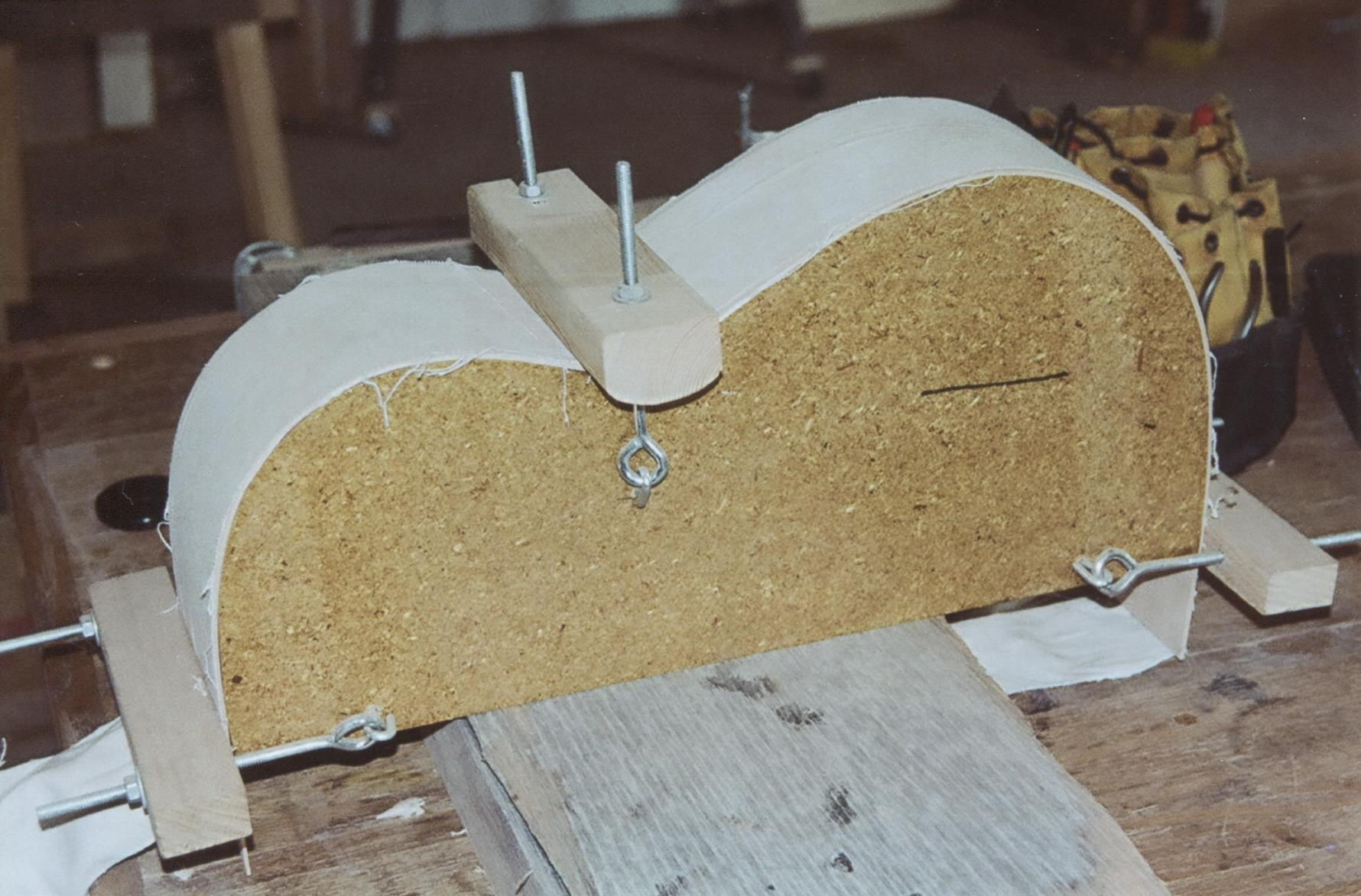 Side clamped to bending form (covered with canvas)