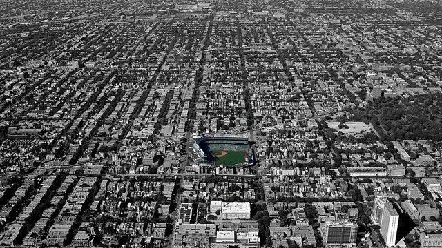 Wrigley Field and Graceland Cemetery (wooded area at right)  Neil Heeney