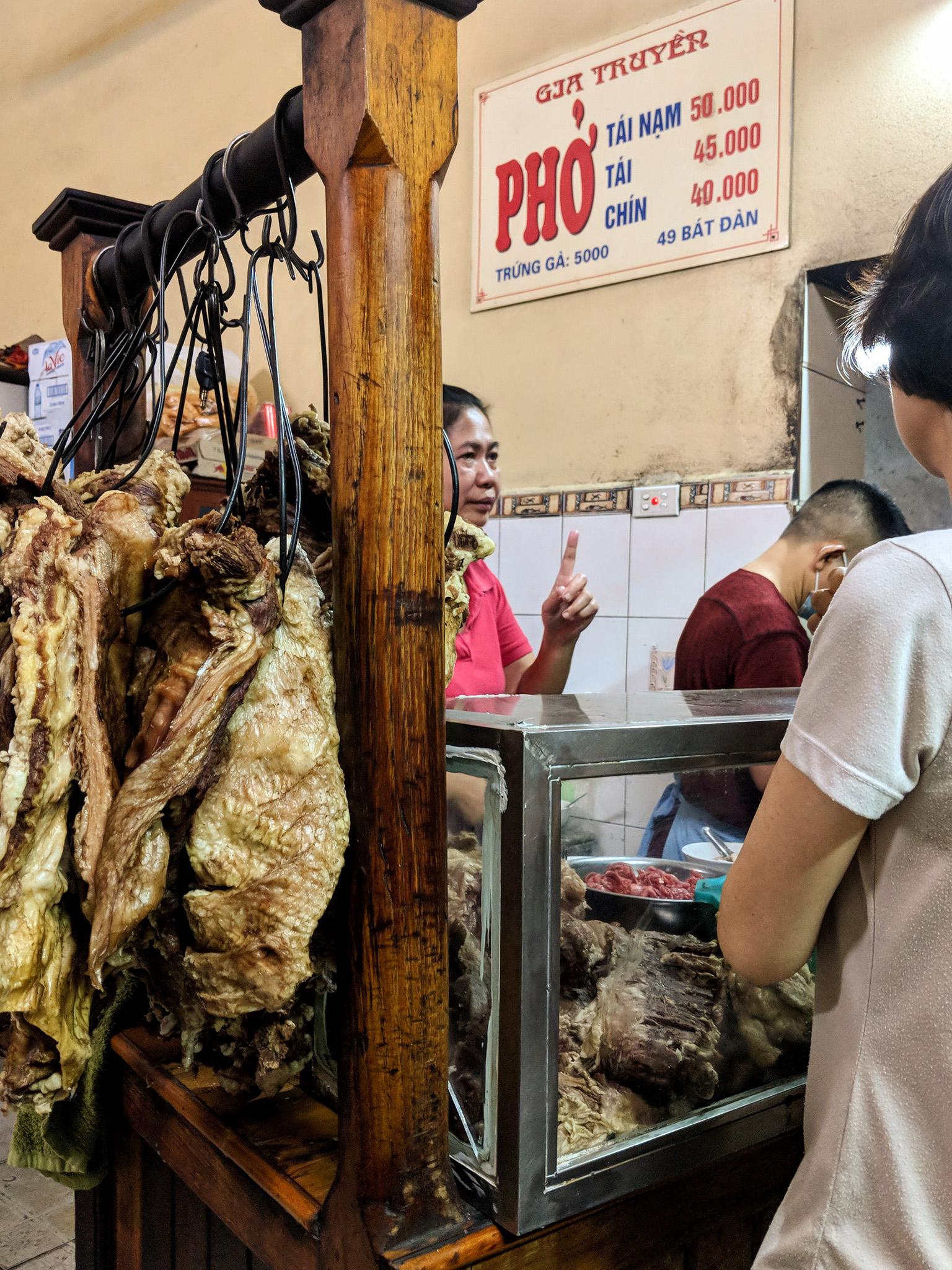 Phở counter at Phở Gia Truyền Hà Nội