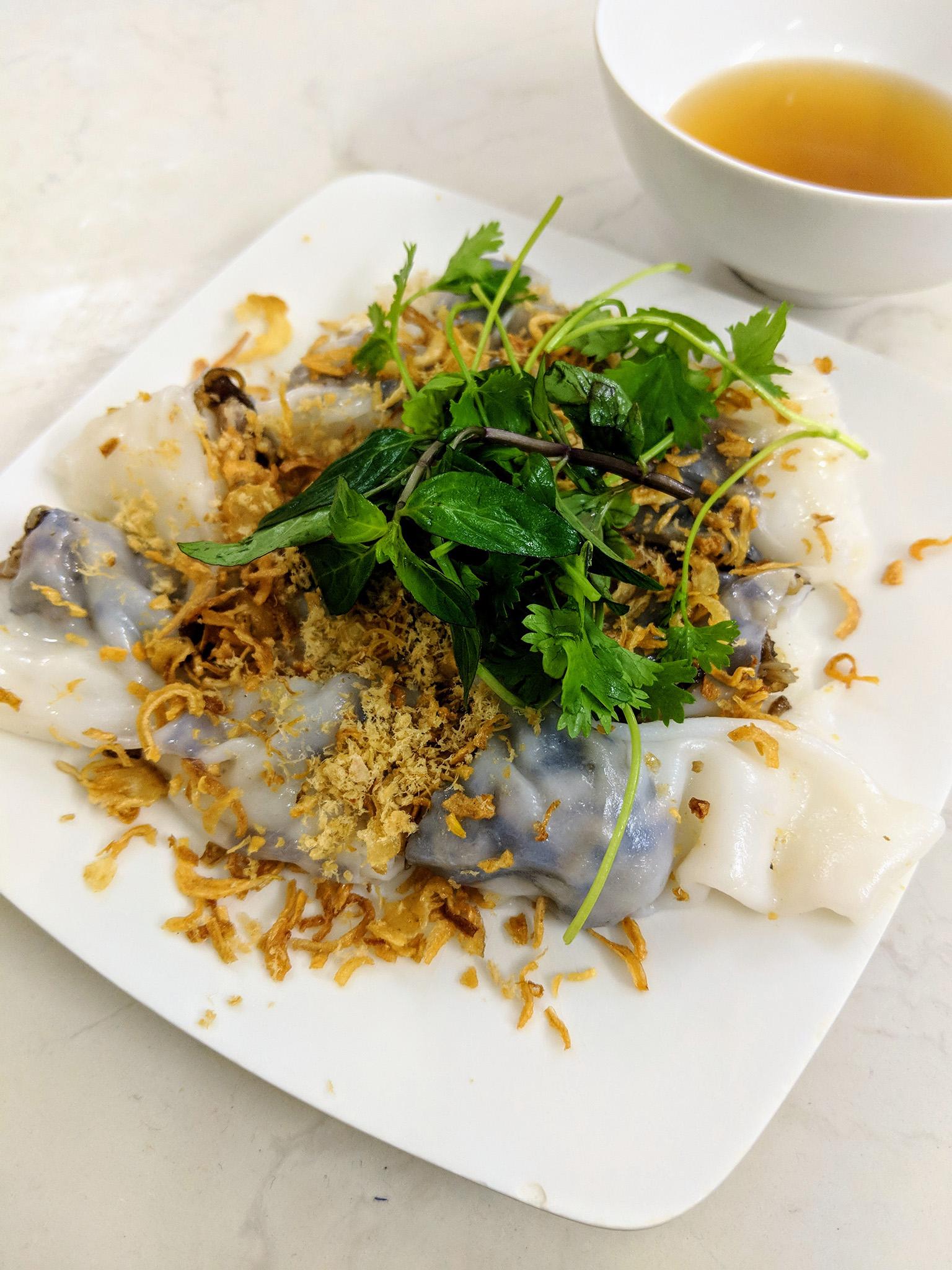 Bánh Cuốn, savory rice crepes stuffed with pork, at Bánh Cuốn Gia Truyền Thanh Vân 14 Hàng Gà.