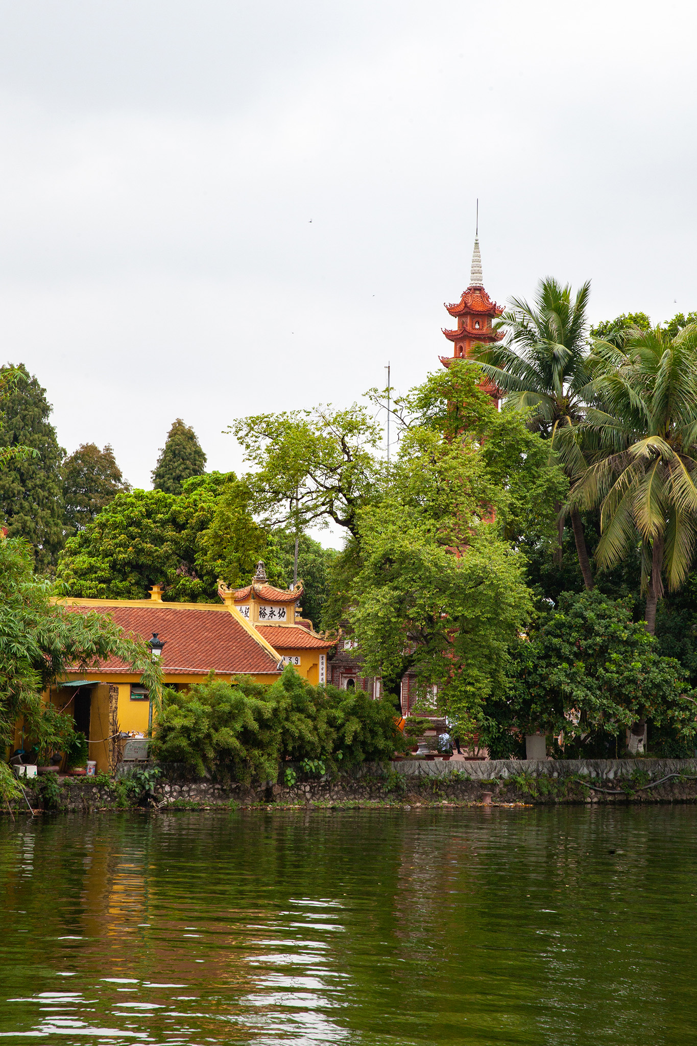 Approaching the oldest Buddhist temple in Hanoi, Trấn Quốc Pagoda