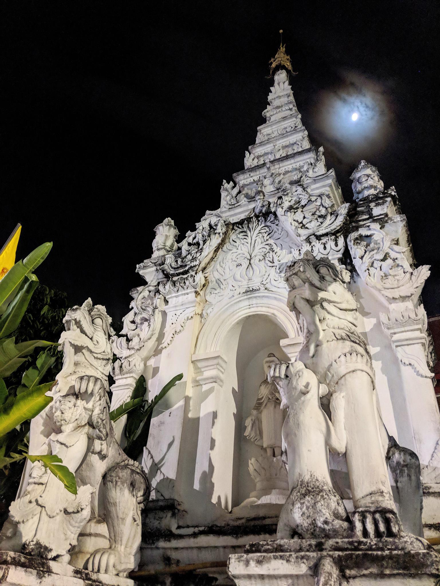 Full moon over Wat Mahawan Tapae