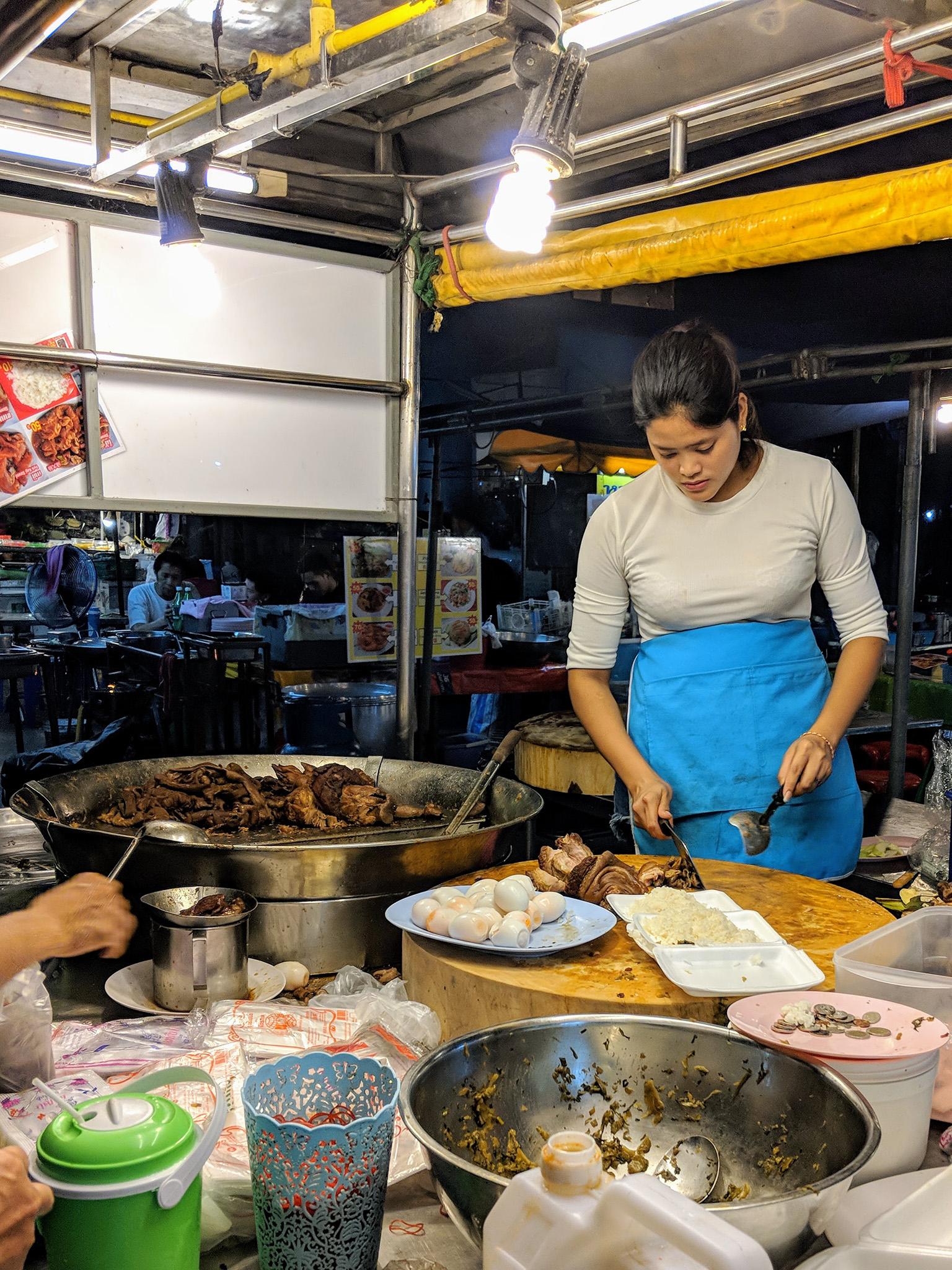 """""""Cowboy Lady"""" Pork Rice at Chang Phuek market"""