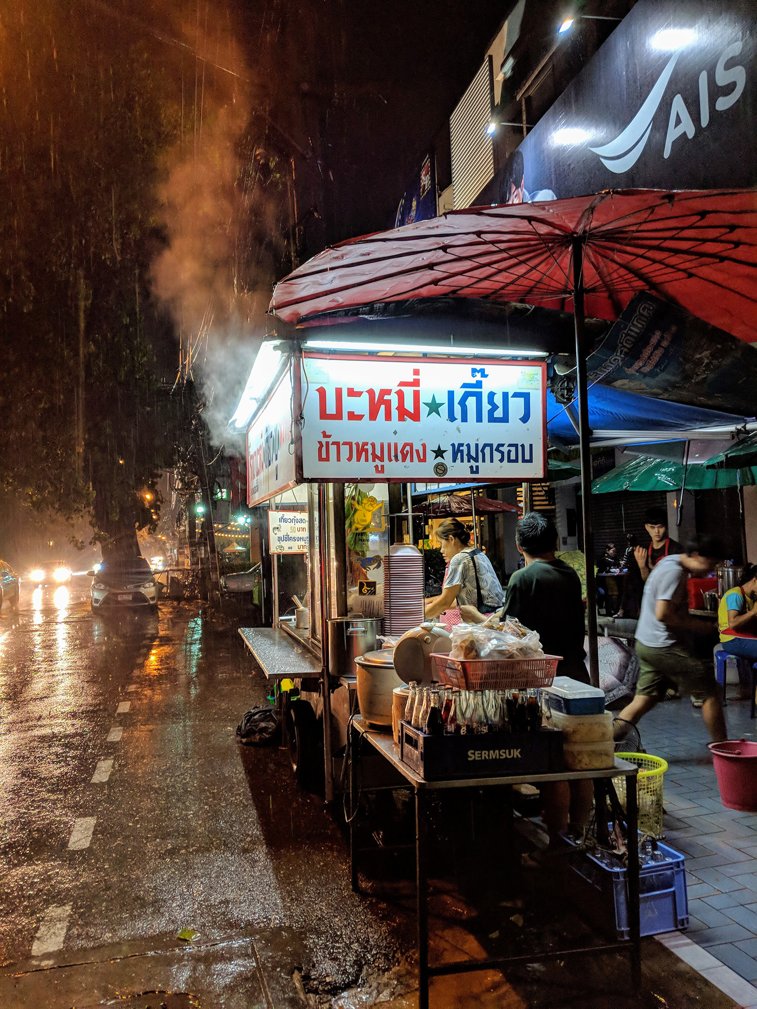 Pouring rain at Chang Phuek Gate night market