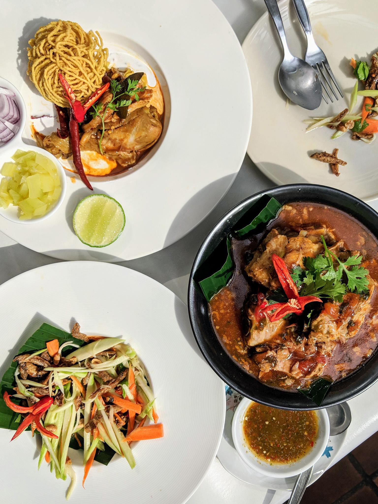 Delicious Khao Soi, Braised Pork and Papaya Salad at Baan Landai