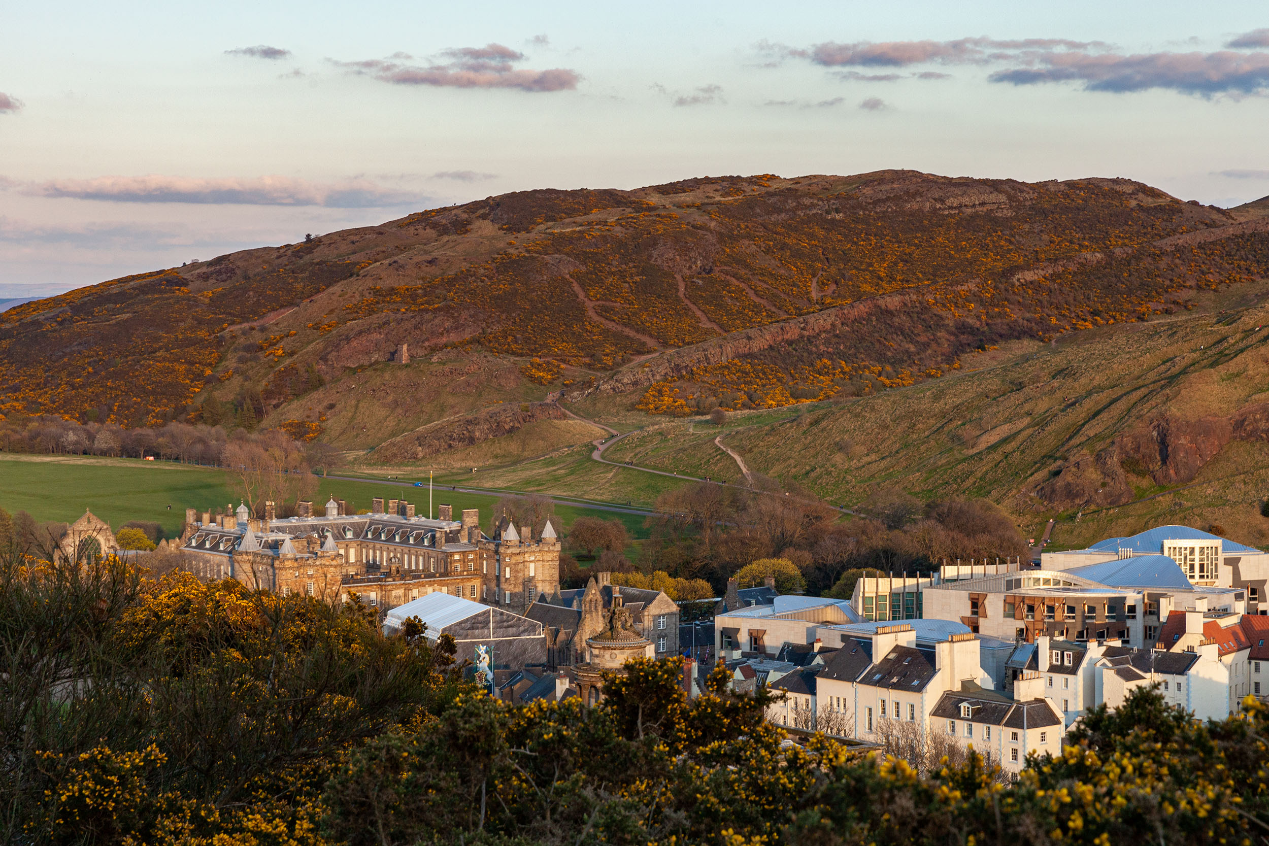 Trying to get a peek at the Palace of Holyroodhouse from Calton Hill