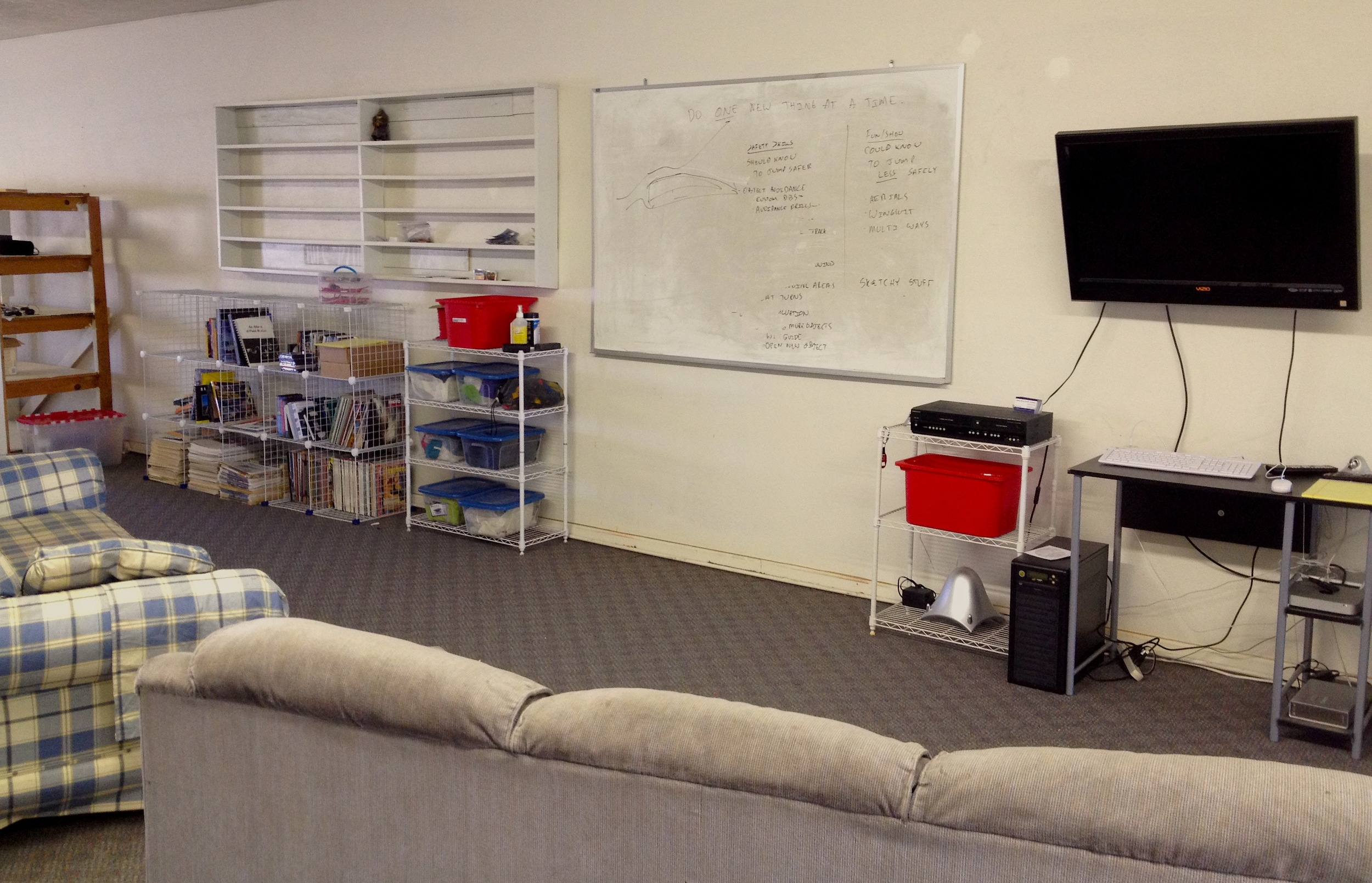 Snake River BASE Academy classroom with white board for lecture and video screen for jump review