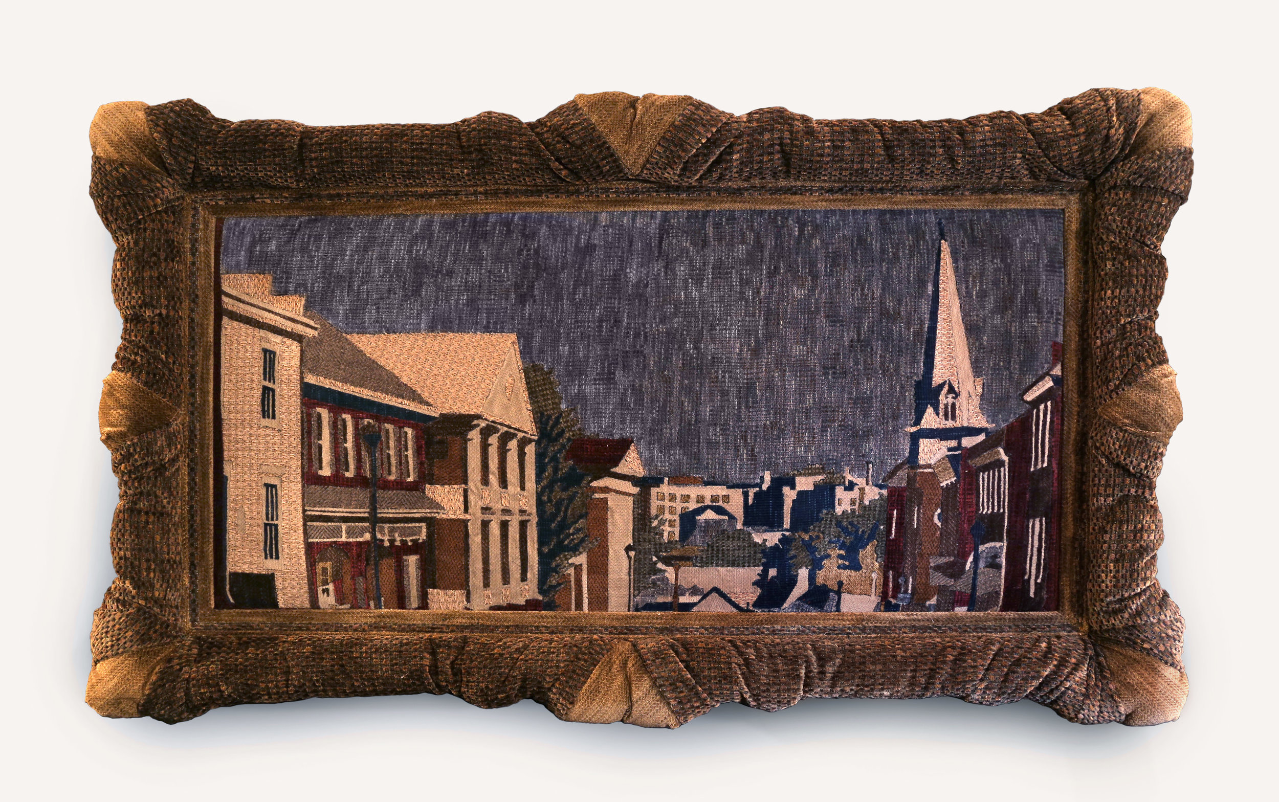"installation component,  Hometown Hero (Chink): Main Street, Lexington, Virginia,  36"" x 60"" upholstery fabric and polyester batting, 2016"