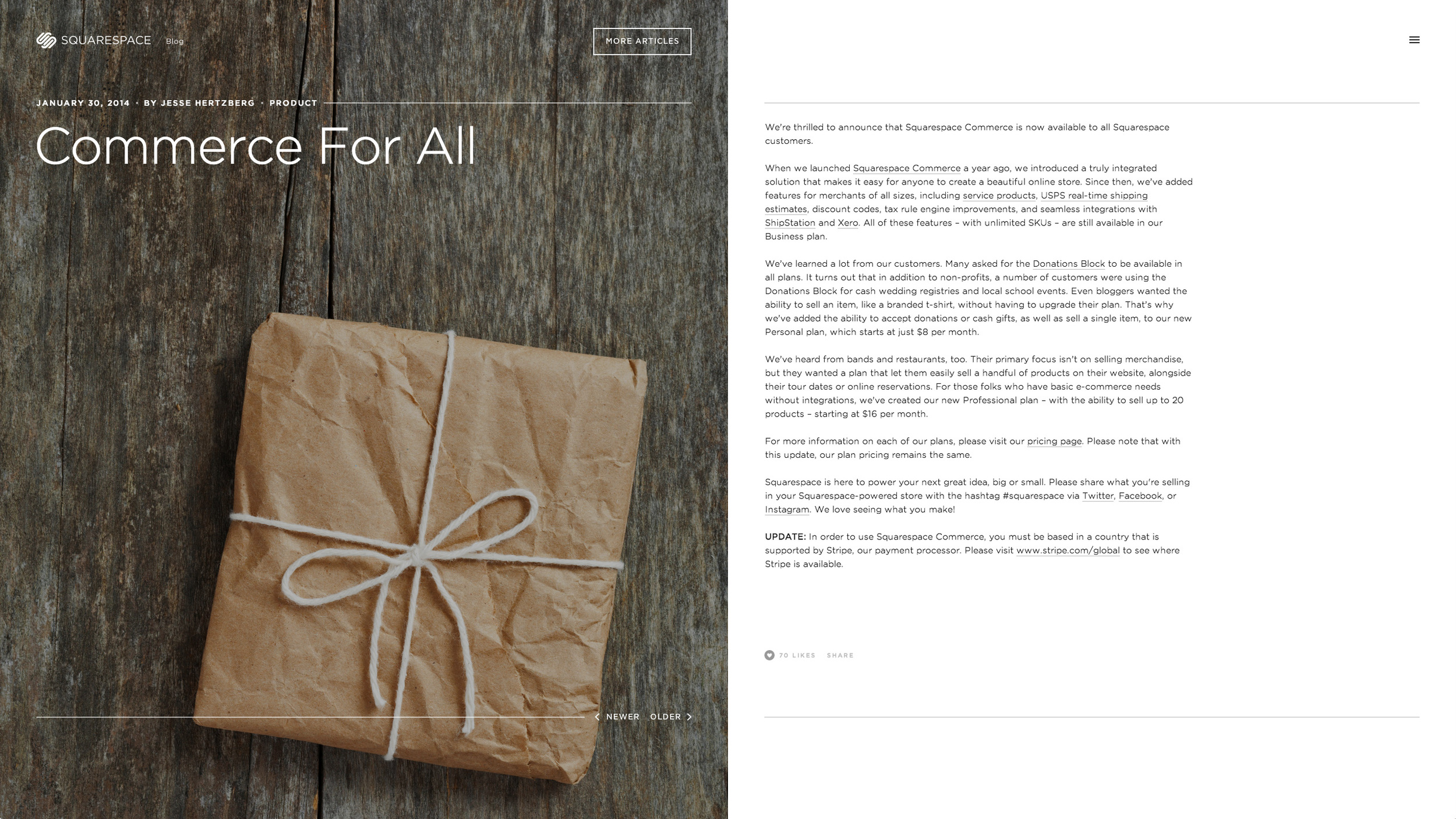 Inspired by book layouts, a bold image, headline and meta information appears on the left, with the content scrolling on the right.